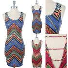 Big Chevron Multi Print Strapped Open Back Bodycon Dress Sleeveless Sexy S M L