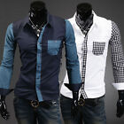 Mens  Fashion Casual Plaid Splice Shirts Blouse Tops Long Sleeve Slim Fit CNF