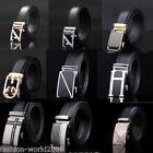 Fashion Mens Business Automatic Buckle Black Genuine Leather Waist Belts Strap