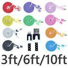 Braided Flat 3ft/6ft/10ft 8 Pin Usb Charger Cable For Iphone 5 5s 5c 6 Plus Lot
