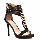 NEW Womens Black Ankle Strap Gold Chain Stud T-Bar High Heels Sandals Shoes Size