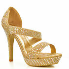 NEW Womens Gold Glitter Ankle Strap Unique Evening Sandals High Heels Shoes Size