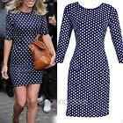 New Womens Polka Dots Bodycon Stretch Cocktail Business Party Mini Dress Tunic