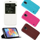 Luxury Leather Window Flip Stand Case Cover Skin For Samsung Galaxy S5 SV i9600