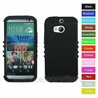 For HTC One M8 Black Hybrid Rugged Impact Armor Protector Phone Case Cover