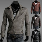 New Men Boy Fashion Cool Leather Zipper Motorcycle Leather Jackets Slim Coats