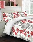 Naomi Red White Printed Floral Design Duvet Cover Bedding Set Single Double King