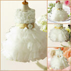 B999 Gold White Wedding Party Flower Girls Dresses SIZE AGE 2 3 4 5 6 8 9 10 12Y
