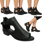 NEW GIRLS LADIES WOMENS LOW HEEL BUCKLE ANKLE BOOTS  CHELSEA SHOES SIZE 3-8