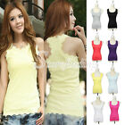 Women's Sexy Lace Tank Tube Tops Sleeveless Casual Cami Vest Blouse T-Shirt