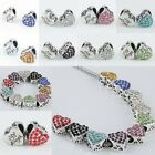 Wholesale Crystal Rhinestone Heart Carved Angel Loose Beads Fit Charms Bracelet