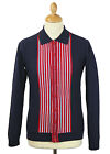 NEW MOD SIXTIES RETRO 60s STRIPED CASSIUS KNITTED POLO SHIRT CARDIGAN NAVY MC181