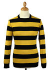 NEW MENS RETRO 60s BLOCK STRIPED BRIAN JONES JUMPER Straight Collar MUSTARDMC136