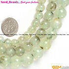 "Fashion Round Green Prehnite Gemstone Jewelry Making Beads Strand 15""Size Pick"