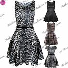 Womens Party Summer Sleeveless Flared Franki Ladies Plus Size Skater Dress Top