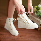HOT Preppy Womens Canvas High top Sneakers Rivet Lace-Up Buckle zip School Shoes