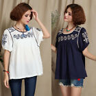 Vintage Ethnic Embroidery Floral Shirt Hippie Blouse Short Sleeve Top Navy White
