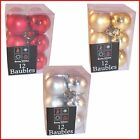 12 Pack Christmas Tree 35mm Baubles - Matt & Shiny - Red, Gold or Silver