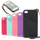 For iPhone 4/4S/5/5S TPU + PU Leather Case Cover w/ Card Holder Slot/ Hand Strap