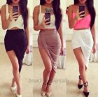 Women's Sexy Asymmetrical High Low Wrapped Elastic Waist Draped Cut out Skirt