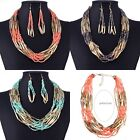 Womens Jewellery Set Beads Chunky Bib Collar Statement Necklace Earrings Bohemia