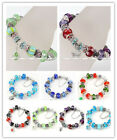 Womens Fashion Murano Glass Crystal European Dangle Beads Charm Bracelet Bangle