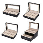 6/10/12/20 Watch Box Leather Display Case Jewelry Organizer Acrylic Top Black