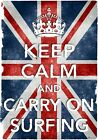 KC3 Vintage Union Jack Keep Calm Carry On Surfing Funny Poster Print A2/A3/A4