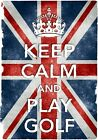 KC15 Vintage Style Union Jack Keep Calm Play Golf Funny Poster Print A2/A3/A4