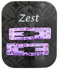 Zest 2 Rectangle Metal Sleepies with Flowers Snap Hair Clips