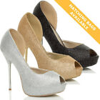 WOMENS LADIES STILETTO HIGH HEEL PLATFORM WEDDING PROM PARTY SANDALS SHOES SIZE