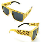CELEBRITY STYLE LARGE CHUNKY GOLD FRAME CUBAN CHAIN SUNGLASSES