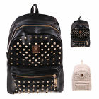Backpack Women Unisex Studded Shoulders Bag Rucksack School Gym Travel Bookbag 1