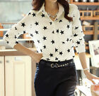 Womens Ladies Long Sleeve Shirt Five-Pointed Star Turn-down Collar Blouse Tops