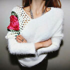 Fuzzy Crochet Flower Pullover Womens Sweater Jumper Knitwear Tops Asymmetric Hem