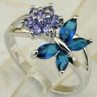 Size 6 7 8 9 flower nice butterfly London Blue topaz gold filled ring K1746-21