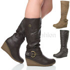WOMENS LADIES ZIP MID HEEL WEDGE BUCKLE PLATFORM HIGH CALF FUR KNEE BOOTS SIZE