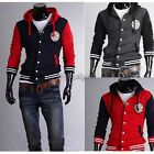 Men Casual Long Sleeve Button Decoration Slim Hoodie Coat Cotton Blended 35DI