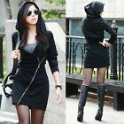 Women Coat Dress Sweatshirt Zip Hoodie Work Wear Trendy Oblique Cotton 35DI