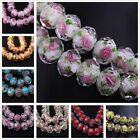 10Pcs Faceted Lampwork Glass Charms Rose Flower Finding Loose Spacer Bead 12x8mm