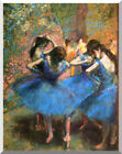 Ballet Dancers in Blue by Edgar Degas Stretched Canvas Art Painting Repro Print