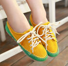 RETRO Color Splicing Flat Heel Faux Suede Womens Round Toe Lace Up Casual Shoes