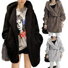 Casual Womens Faux Fur Warm Hooded Thicken Hoodie Outerwear Coat Jacket Parka