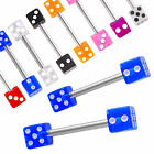 Pair Tongue ring dice piercing barbell tounge bars steel 9HKE-SELECT SIZE&COLOUR