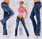 New Sexy Women's Hipster Jeans blue wash Jeans Bootcut Belt UK Size 6-14