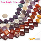 "New Diagonal Twist & Flat 16mm Gemstone Beads Strand 15""Various Materials Select"