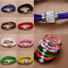 13 Styles New Handmade Leather Wrap Wristband Punk Rhinestone Buckle Bracelet