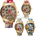 Fashion Retro Casual Silicon Band Flower Print Jelly Sports Quartz Wrist Watch