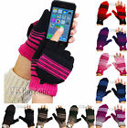 Mens Ladies Thermal Knitted Flip Cap Fingerless Wool Warm Winter Gloves Mittens