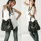 FAST LONDON BLACK NEW Womens Faux Leather Shoulder Bags Tote Shopping Handbag